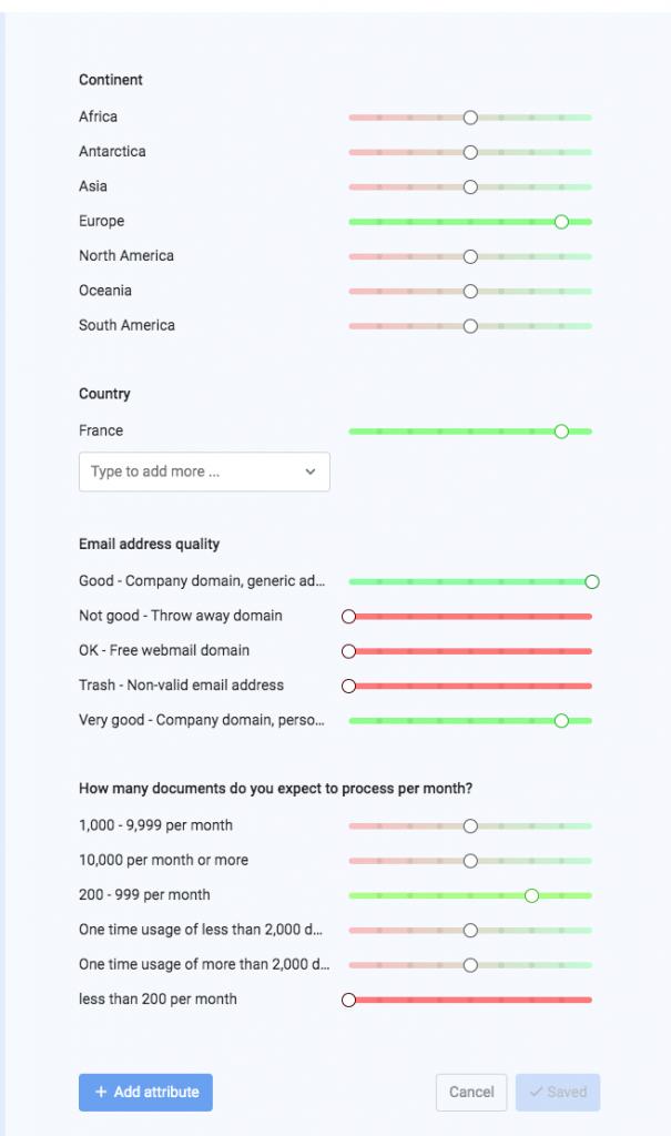 SaaS lead scoring settings in a lead scoring platform.