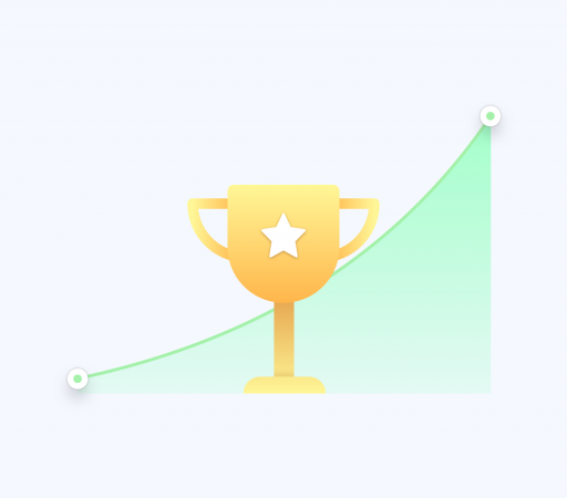 A growth chart and a trophy