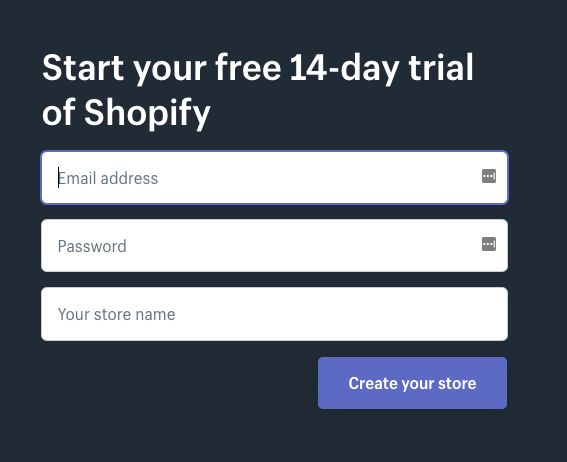 Sign-Up form of Shopify