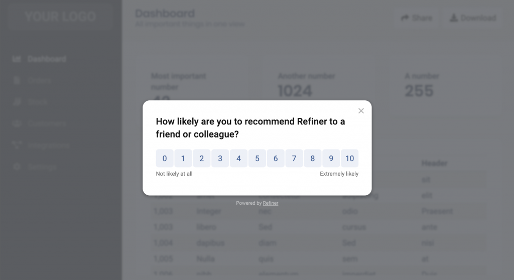 Example of a Net Promoter Score (NPS) widget shown as a centered modal