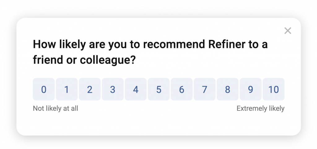 Example of a survey displayed in a popup.