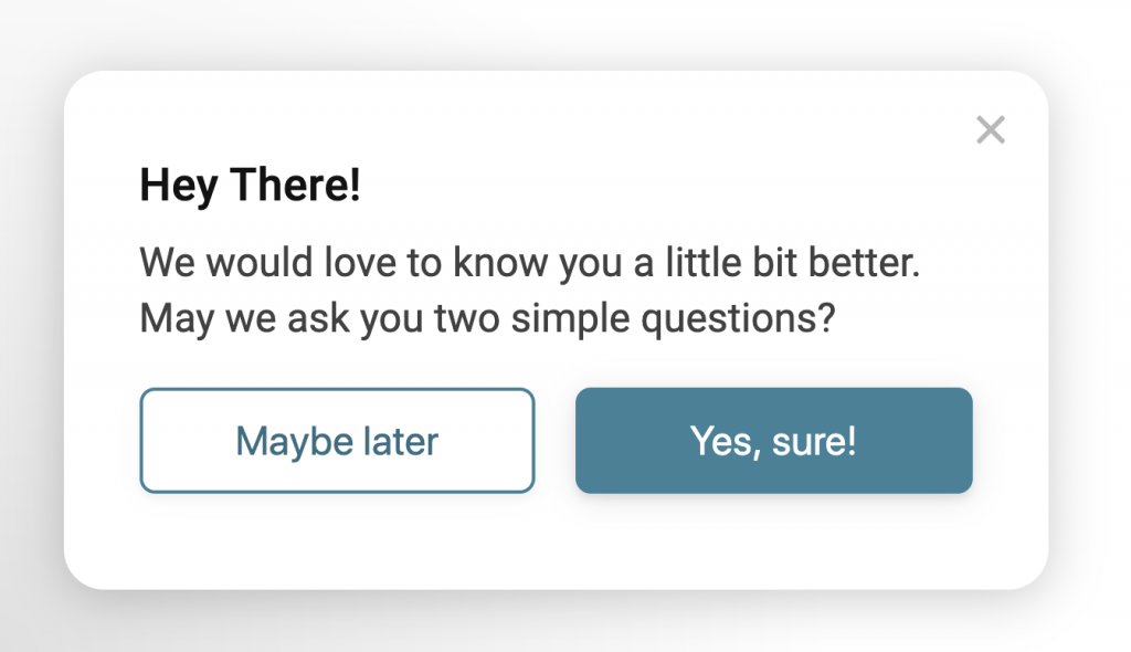 Image showing popup survey with a simple yes or no question.