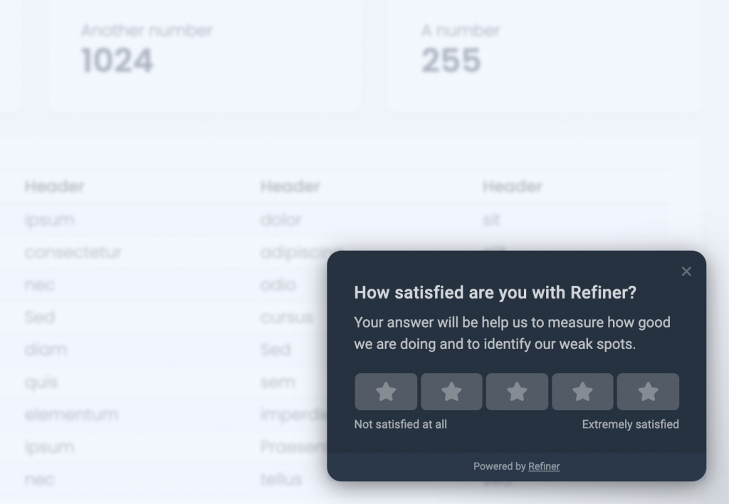 Screenshot showing the Refiner survey widget