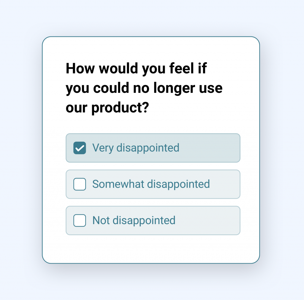 Illustration of a simple Product Market Fit (PMF) survey
