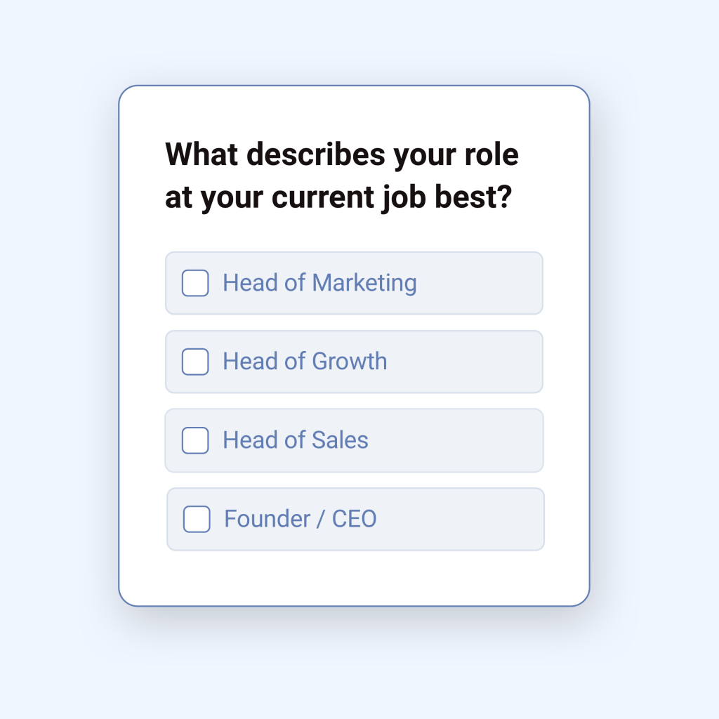 Example of a user survey used to segment customers