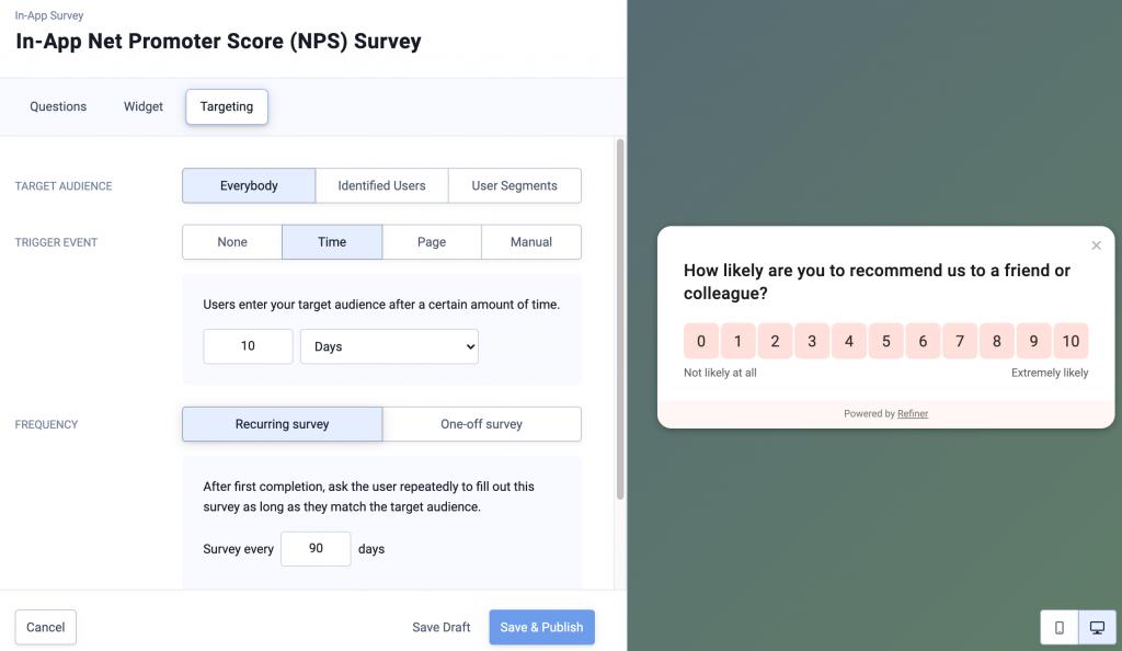 Image showing NPS survey targeting options.