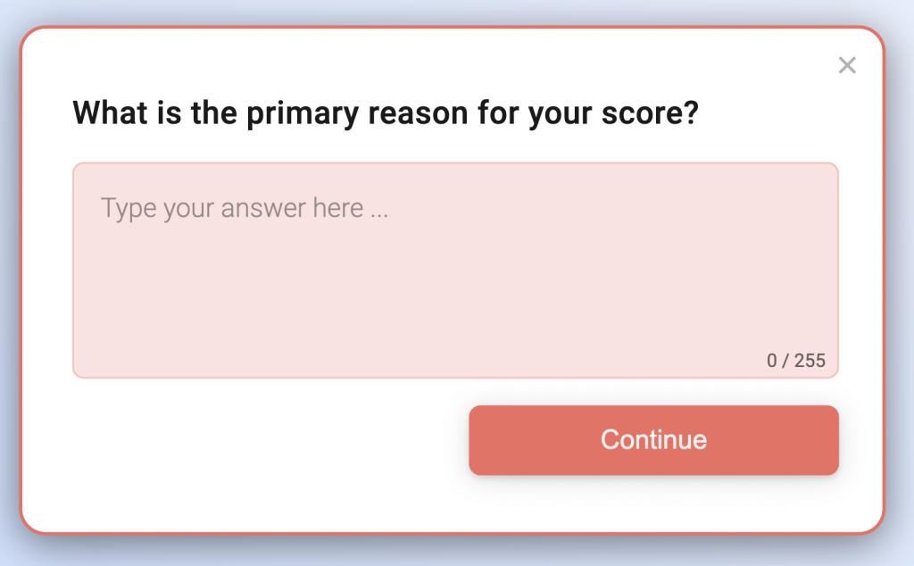 An example of an NPS follow-up question.