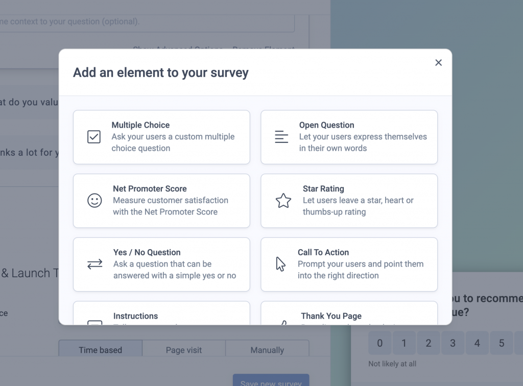 Screenshot showing how to add a custom question to your survey
