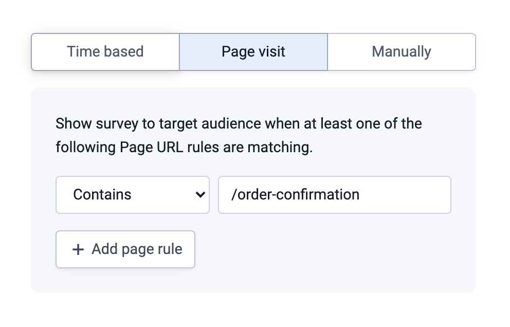 Screenshot showing the Page Visit survey trigger